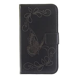 DUR Butterfly Pattern PU Leather Full Body Case for Samsung I8552(Assorted Color) , Black
