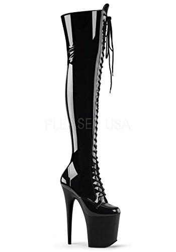 Pleaser FLAMINGO-3023 Women's Platform Lace-Up Front Stretch Thigh High Boot, Color Black STR Patent/Black, Size:6 (Boots Thigh Patent Stretch)