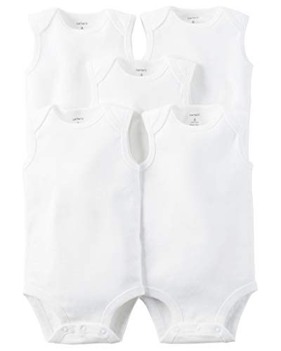 Carters Unisex Baby 5-Pack Sleeveless Original Bodysuits, White, 18M
