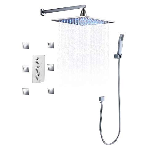 JiaYouJia Thermostatic LED Wall Mount 12-Inch Bathroom Shower System with Square Fixed Showerhead, Hand Shower and 6 Body Spray