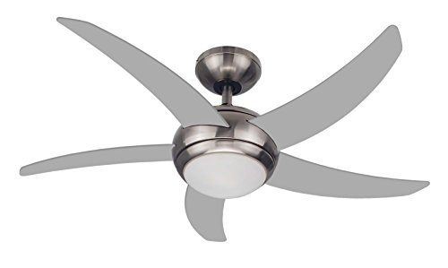 FJ WORLD L44001 silver ceiling fan with 5 curved blades 44 inches, Dome Light and free remote