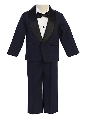 Lito Baby Boys Navy Black Jacket Pants Shirt Bowtie 4 Pc Tuxedo 18-24M