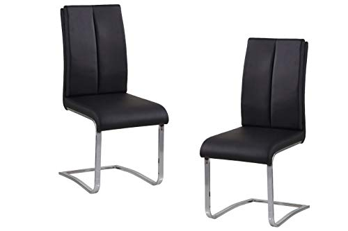Best Master Furniture BA207 Bailey Modern Leather Dining Side Chair, Set of 2 Black