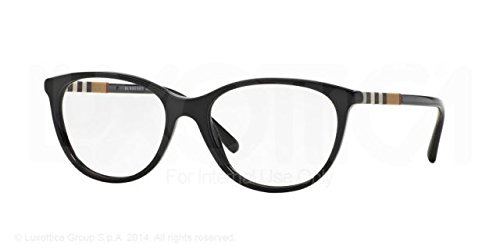 Burberry Women's Optical Frame Acetate Black Frame/Transparent Lens Non-Polarized Glasses 52 - Women Burberry Glasses