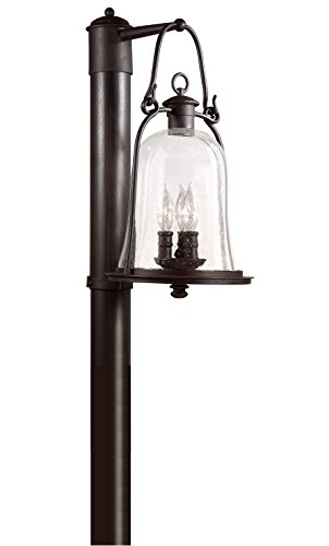 Natural Bronze Mill - Troy Lighting Owings Mill 3-Light Outdoor Post Lantern - Natural Bronze Finish with Clear Seeded Glass