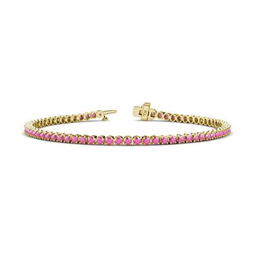 Pink Sapphire 2.3mm Tennis Bracelet 2.32 cttw in 14K Yellow Gold