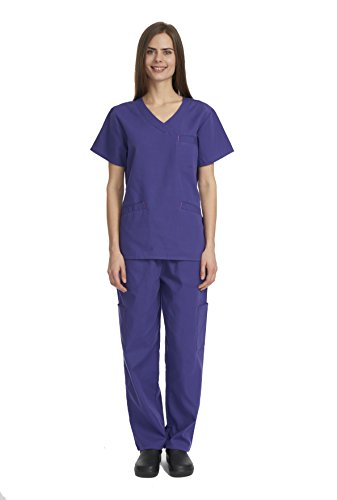 Denice Womens Scrub Sets/Multiple Pockets/Medical Uniforms 1050 (X-Large, Grape)
