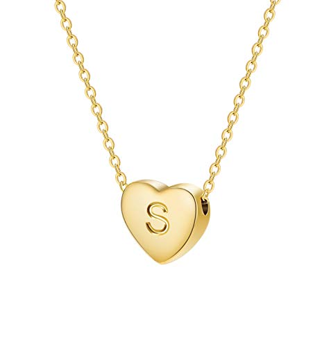 Dainty Initial Necklace Letters A to Z 26 Alphabet Heart Pendant Necklace 18K Real Gold Plated Personalized Necklace for…