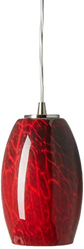 Elk 10220/1FBR Maui 1-Light Pendant with Firebrick Glass Shade, 5 by 8-Inch, Satin Nickel Finish