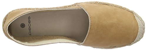 PIECES Damen Pskatie Leather Espadrillos Tan Espadrilles Braun (Tan)