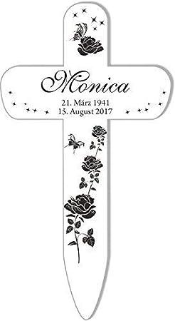 25 x 13,5 Blanc Livingstyle /& Wanddesign Personalisiertes Croix Grav/ée avec Roses 3