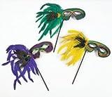 Mardi Gras Feather Masks W/Sticks (1 dozen) - Bulk [Toy]