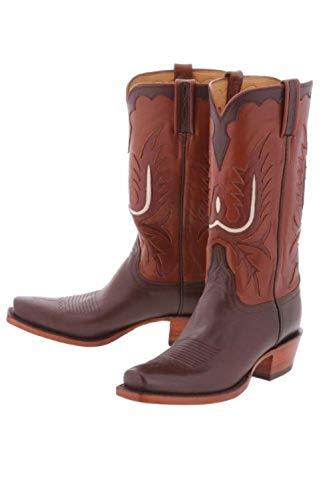 Lucchese Classics 'L1657' Calfskin Cowboy Boots 5/3 Mens - Chocolate - Classics Lucchese Chocolate
