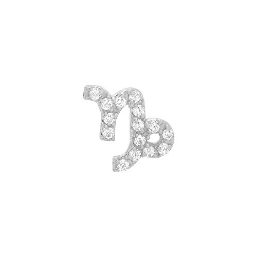 14k White Gold Brilliant Diamond Accented Capricorn Zodiac Single Earring (Zodiac Earrings 14k)