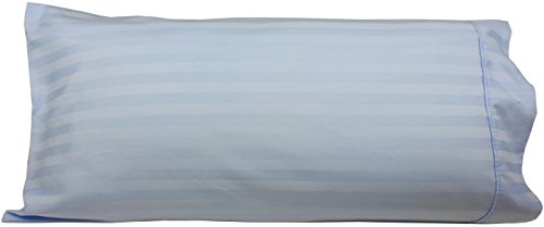 Body Pillowcase, 100% Egyptian Cotton, 540 Thread Count, 21x60 Pillow Cover, Striped with Wrinkle Guard by Fits 20x54, Light Blue