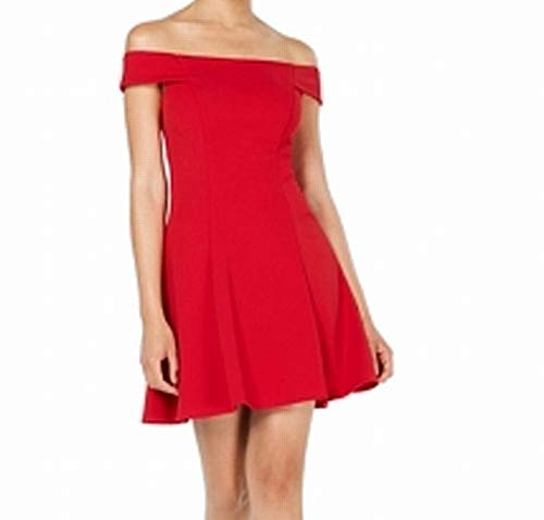 Teeze Me Junior Off Shoulder A-Line Party Dress Reds]()