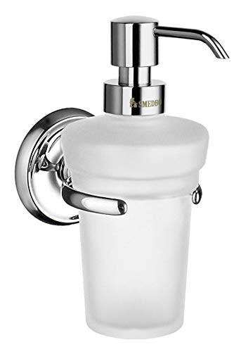 - Smedbo Villa Soap Dispenser with Matte Glass K269 Polished Chrome .Include Glue.Fixing Without Drilling