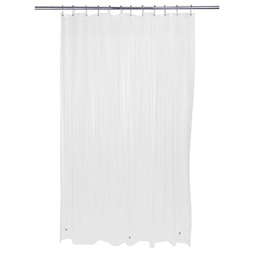"Bath Bliss Heavy Duty Shower Curtain Liner, 3 Magnet Hem, Mildew Resistant, x 72"", Frost, Clear"