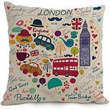 London Pillow Covers 18 X 18 Inches / 45 By 45 Cm For Teens Girls,car,kids,husband,bedroom,kids Room With Twice Sides (London Themed Pillows)