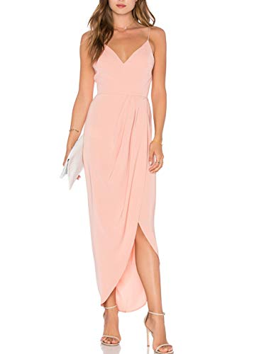 CMZ2005 Women's Sexy V Neck Backless Maxi Dress Sleeveless Spaghetti Straps Cocktail Party Dresses 71729 (L, Pink)