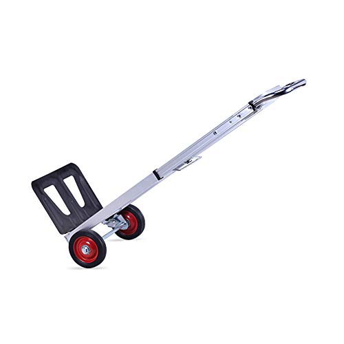 (JIAJUAN Hand Trolley Aluminum Alloy Square Tube Mute Foldable Adjustable Warehouse, Silver)