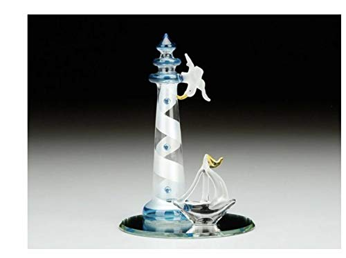 - Everspring Imports Blown Glass Lighthouse Ship and Seagull on Mirror Base