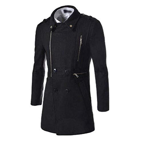 Coat Men's Winter Apparel Lapel Trench Warm Coat Huixin Coat Outerwear Wool Jacket Parka Casual Schwarz Collar Ut4xxqwAF