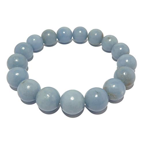 - SatinCrystals Angelite Bracelet 11mm Pale Blue Round Genuine Gemstone Anhydrite Soothing Stretch Jewelry B09 (7.75