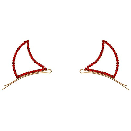 Rosemarie Collections Women's Devil Horn Rhinestone Hair Clip Bobby Pins -
