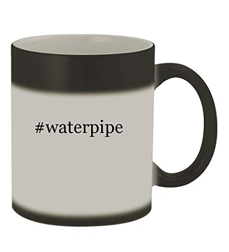 #waterpipe - 11oz Color Changing Hashtag Sturdy Ceramic Coffee Cup Mug, Matte Black (Hello Glass Smoking Bowl Kitty)