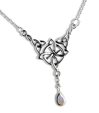 Sterling Silver Celtic Knot Four Point North Star with Genuine Rainbow Moonstone Drop 17 Adjustable Necklace