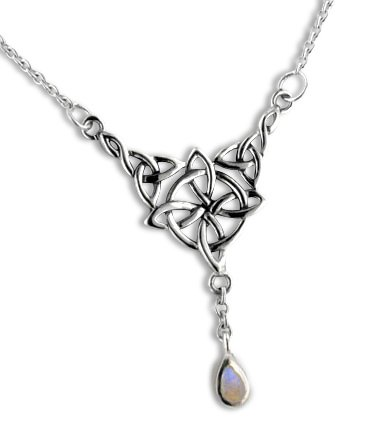 Sterling Silver Celtic Knot Four Point North Star with Genuine Rainbow Moonstone Drop 17