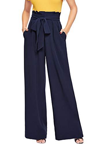 - Verdusa Women's High Waist Button Fly Wide Leg Pants Long Palazzo Trousers Navy XL