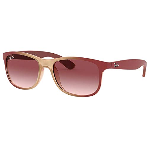 Ray-Ban RB4202 Andy Rectangular Sunglasses, Burgundy On Rubber Pink/Pink Gradient, 55 mm (Flache Schwarze Ray Ban Wayfarer)