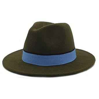 SHENTIANWEI Men Women Winter Fedora Hat with Blue Cloth Belt Pop Wide Brim Church Fascinator Hat Casual Wild Jazz Hat Size 56-58CM (Color : Army Green, Size : 56-58)