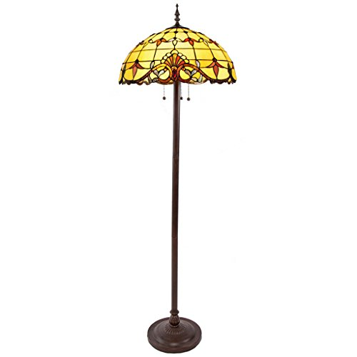 River of Goods 64-Inch Tiffany Style Stained Glass Allistar Amber Floor Lamp
