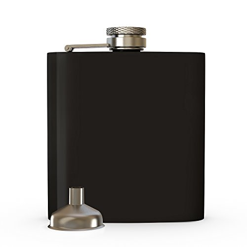 Hip Flask with Funnel, Liquor Flask - 8 Oz, Fits Any Suit, Leak Proof 18/8 Stainless Steel, Pocket Hip Flask Wrapped with Brown Leather for Discrete Alcoholic Shots (Black)