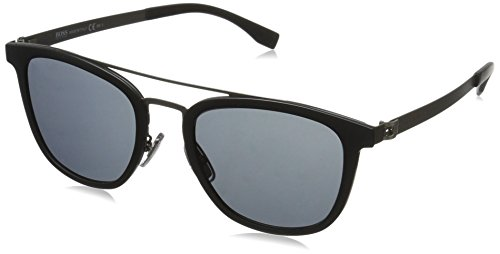BOSS by Hugo Boss Men's B0838s Square Sunglasses, Black Semi Matte Dark Ruthenium/Gray Blue, 52 - Boss Sun Glasses Hugo