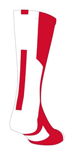 TCK Player Id Red/White Number Crew Sock (Blank - Single Sock, Medium)