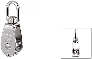 uxcell a14120500ux0036 25mm Diameter Stainless Steel Double Sheave Swivel Eye Rope Pulley