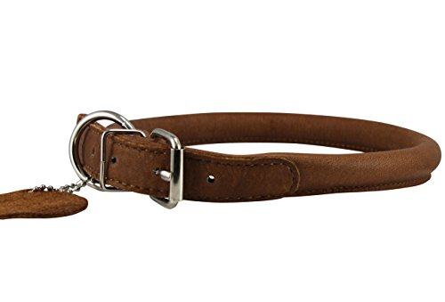 "Genuine Leather Rolled Dog Collar 17.5""-21"" neck size, Chow"