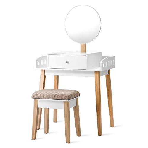 Vanity Makeup Dressing Wooden Table Stool Set Round Mirror with 1 - Bulb 1 Regency