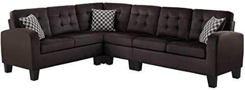 Homelegance Sinclair L-Shaped 2-Piece Sectional Sofa with Tufted Accents and Three Geometric Pattern Toss Pillows, Chocolate