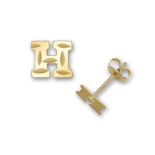 Solid 14k Yellow Gold Small Sparkle-cut A-Z Initial Stud Earrings (Initial: H)