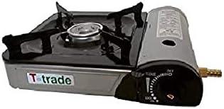 Hornillo de mesa tipo bistro, potencia de 2200 W, con encendido piezoeléctrico, funcionamiento con doble alimentación (cartucho de gas o bomba).