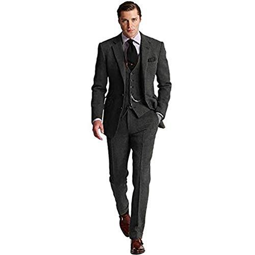 Mens Retro Brown Grey Charcoal Green Tweed Herringbone Slim Fit Groom Tuxedos Prom Blazer Vintage Wedding 3 Piece Suits