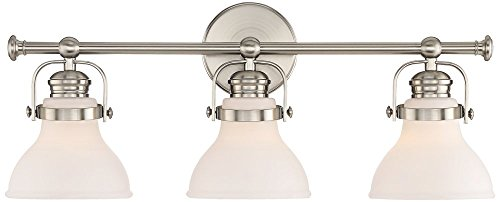 Olsen 24'' Wide 3-Light Satin Nickel Bath Light by Possini Euro Design