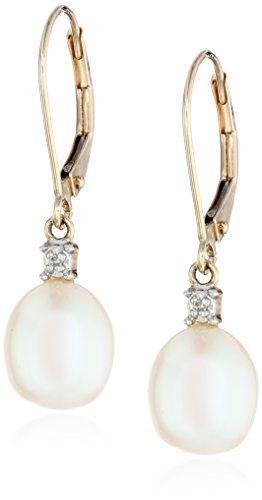 10k Yellow Gold Freshwater Cultured Pearl with Diamond Accent Drop Earrings (8-8.5 mm) (10k Gold Diamond Earrings)