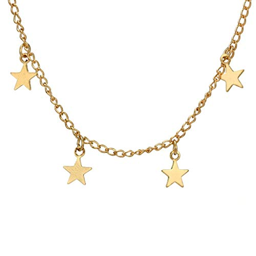 Clavicle Necklace, Fashion New Style Elegant Retro Simple Love Necklace for Ladies Girls,Five-pointed star