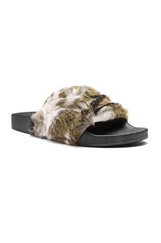 Herstyle Vrouwen Sl-160801 Faux Fur Slide Sandaal Camouflage